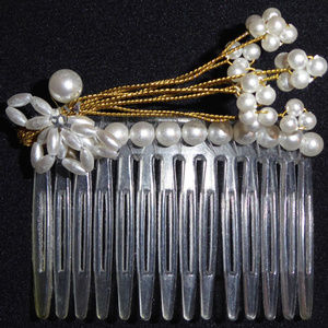 Accessories - PEARL HAIR COMB VINTAGE 2.75""